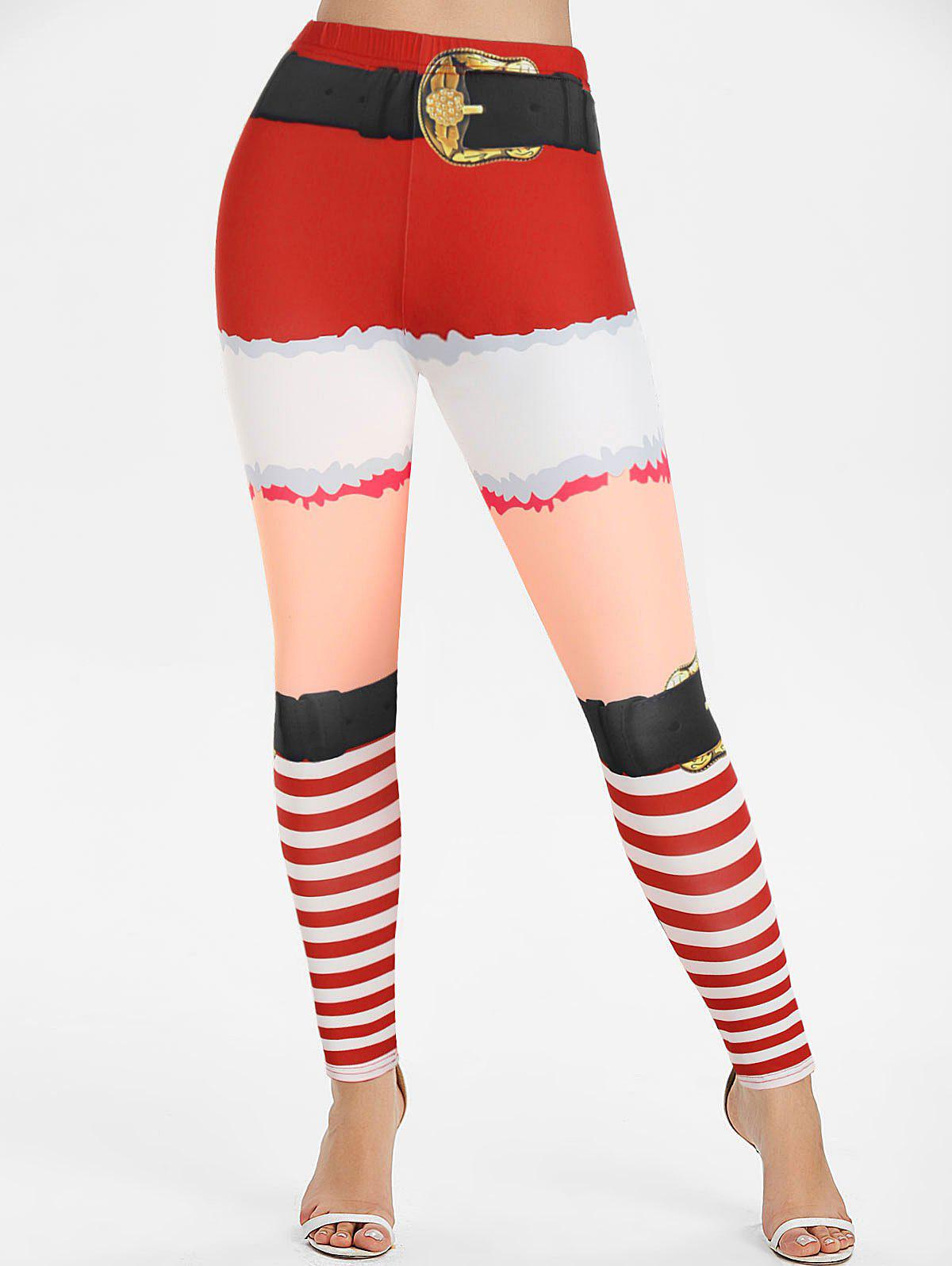 Discount Christmas 3D Print Striped Pants