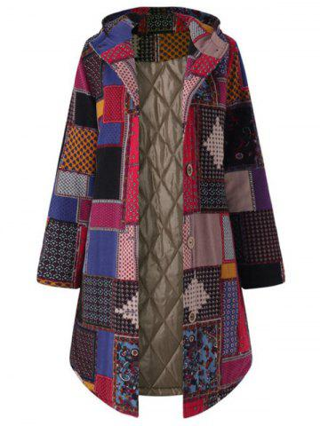 Plus Size Patchwork Hooded Coat