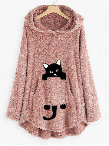 Plus Size High Low Cat Pattern Plush Hoodie - LIGHT PINK - XL