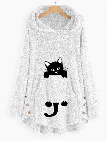 Plus Size High Low Cat Pattern Plush Hoodie - WHITE - L