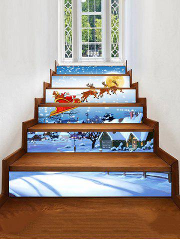 Christmas Elk Santa Claus Print Decorative Stair Stickers - MULTI - 6PCS X 39 X 7 INCH( NO FRAME )