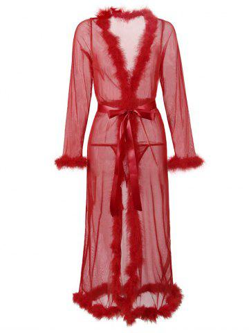 Plus Size Feather Trim Belted Mesh Lingerie Gown - DEEP RED - 1XL