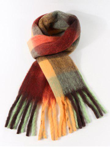 Plaid Pattern Fringe Fuzzy Long Scarf