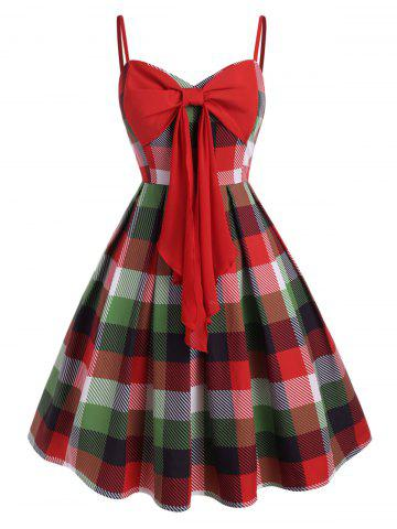 Cami Bowknot Plaid Plus Size Mini Dress - RED - 5X