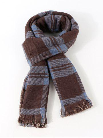 Reversible Fringe Plaid Pattern Long Scarf