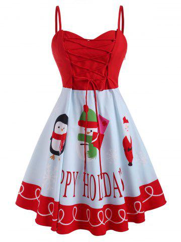 Christmas Snowman Santa Claus Lace Up Plus Size Cami Dress - RED - 5X