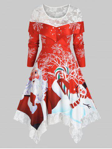 Plus Size Christmas Handkerchief Santa Claus Lace Panel Dress - RED - 5X