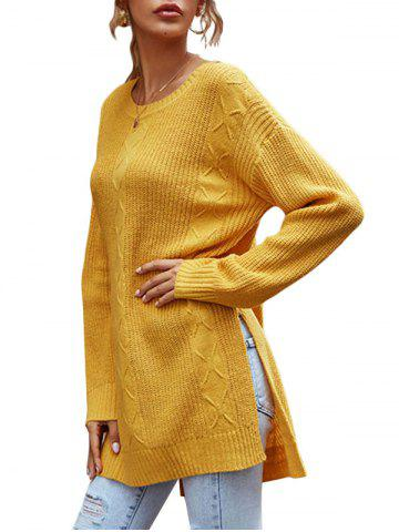 Crewneck Side Slit Stepped Hem Tunic Sweater - YELLOW - L