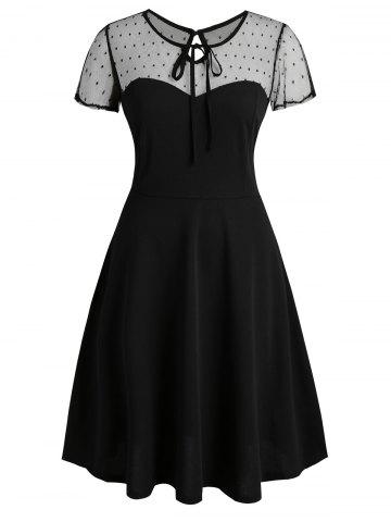 Keyhole Back Dotted Mesh Tie Collar Plus Size Dress - BLACK - L