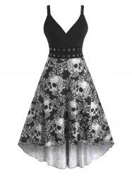Halloween Skull Floral Print Grommets High Low Dress -