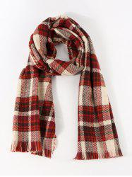 Colorblock Reversible Plaid Long Shawl Scarf -