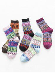 5 Pairs Christmas Tree Snowflake Pattern Socks Set -