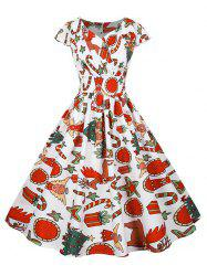 Christmas Gift Santa Claus Print Cap Sleeve Surplice Dress -