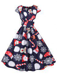Christmas Santa Claus Elk Snowflake Cap Sleeve Dress -
