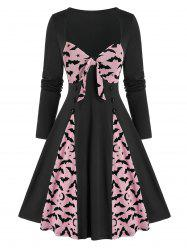 Vintage Halloween Bowknot Bat Print Pin Up Dress -