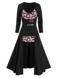 Halloween Buckles High Low Top and Bat Print Mesh Camisole Set -