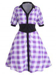 Contrast Collar Plaid Button Up Plus Size Shirt Dress -