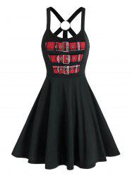 Colorblock Plaid Buckles Back O Ring Flare Dress -