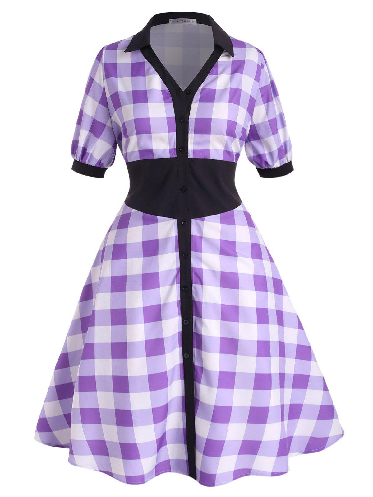 Outfit Contrast Collar Plaid Button Up Plus Size Shirt Dress