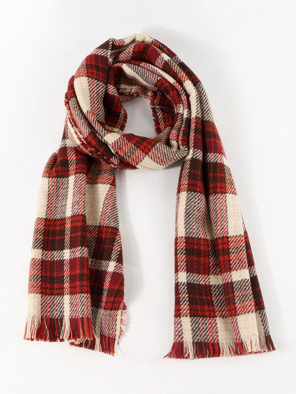 Cheap Colorblock Reversible Plaid Long Shawl Scarf