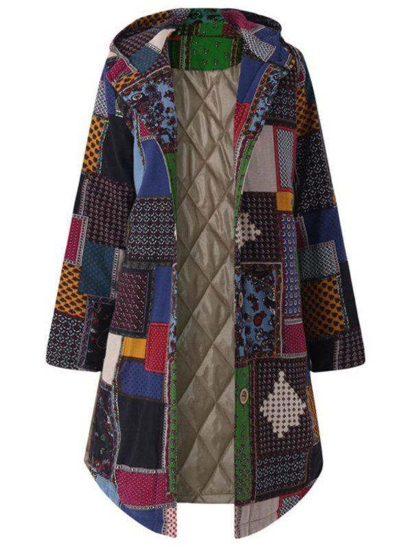 Buy Plus Size Patchwork Hooded Coat