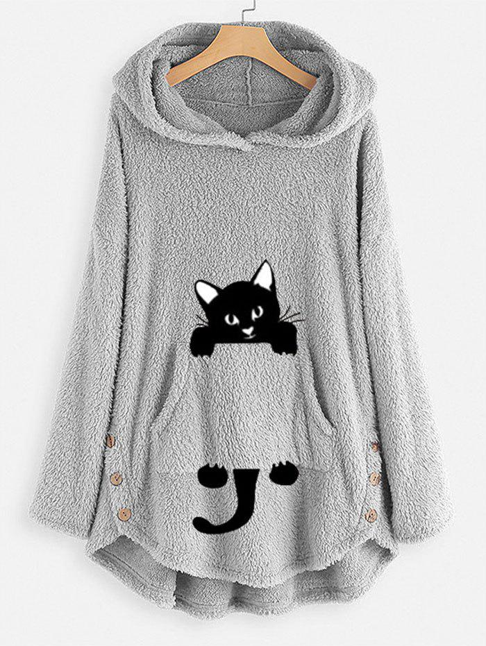 Affordable Plus Size High Low Cat Pattern Plush Hoodie