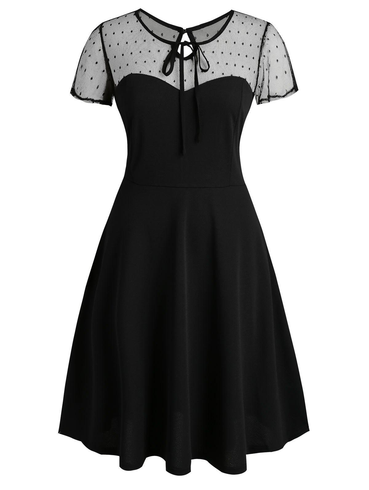 Fancy Keyhole Back Dotted Mesh Tie Collar Plus Size Dress