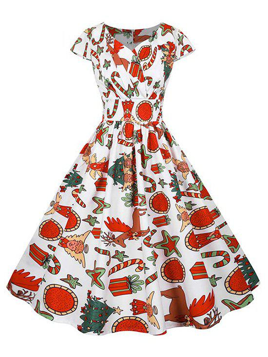 Fancy Christmas Gift Santa Claus Print Cap Sleeve Surplice Dress