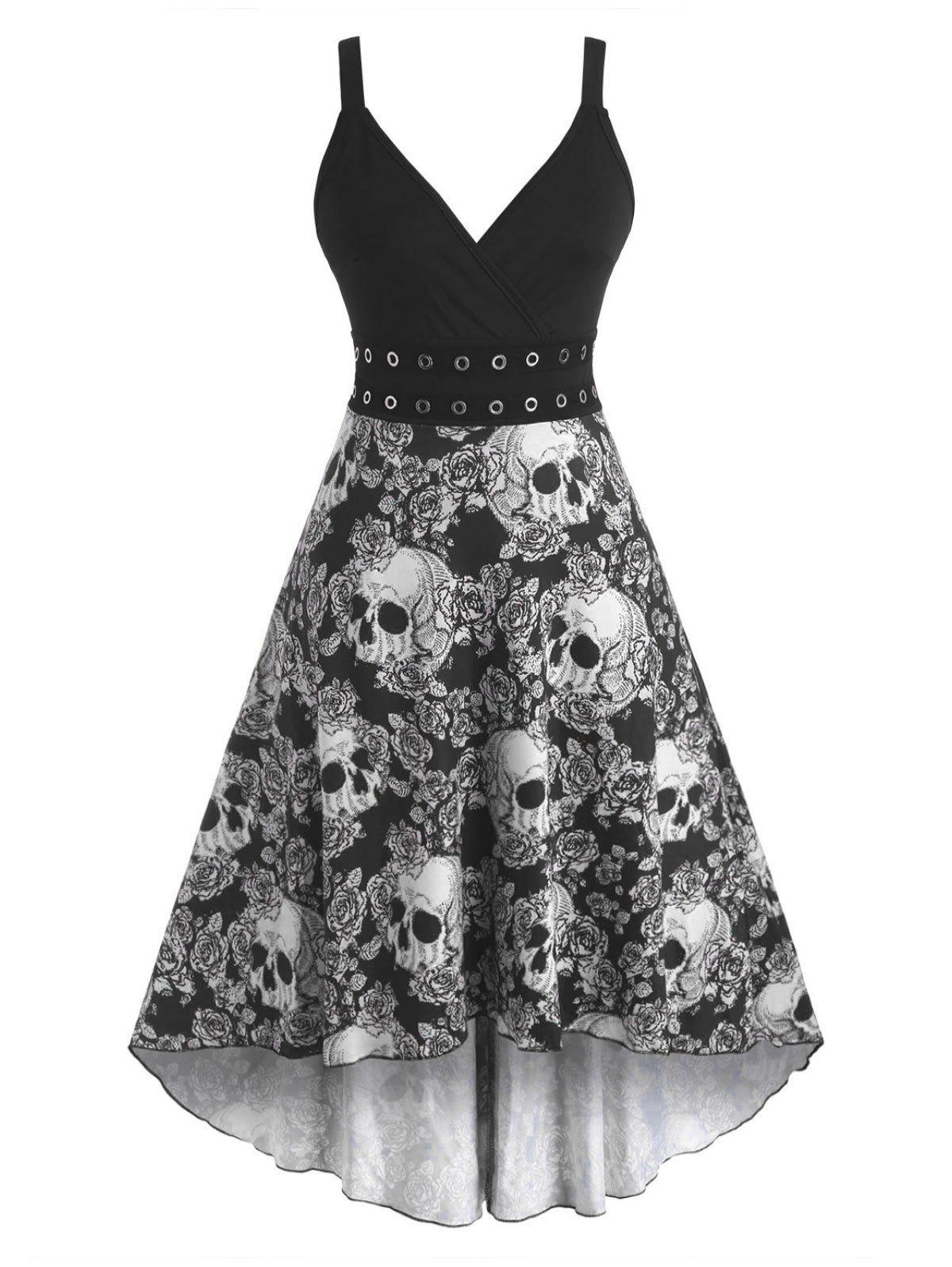 Store Halloween Skull Floral Print Grommets High Low Dress
