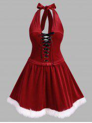 Plus Size Christmas Velvet Open Back Halter Dress -