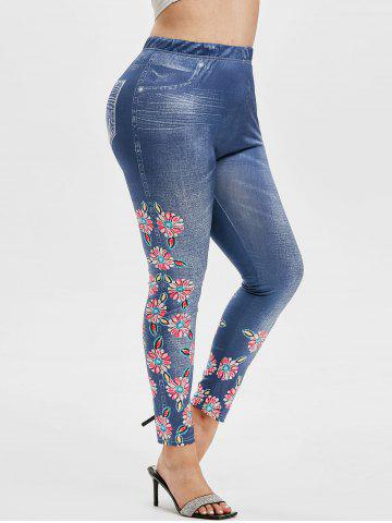 Plus Size Flower 3D Jean Print High Waisted Jeggings