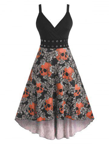Halloween Skull Floral Print Grommets High Low Dress