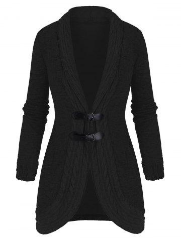 Buckled Shawl Collar Cable Knit Cardigan