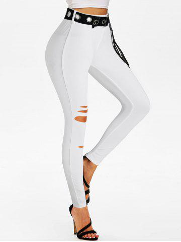 Ripped Lace-up Grommet Belted Skinny Pants - WHITE - S