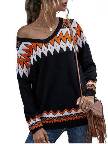 V Neck Geo Pattern Raglan Sleeve Sweater - BLACK - L