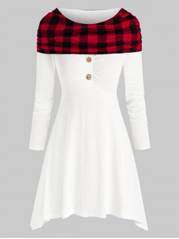 Plus Size Foldover Plaid Knitwear - WHITE - L
