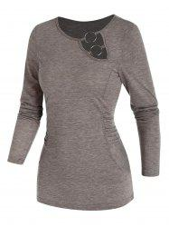 Cut Out O-ring Ruched Long Sleeve T-shirt -