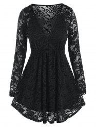 Plus Size Surplice Lace Blouse and Keyhole Camisole Set -