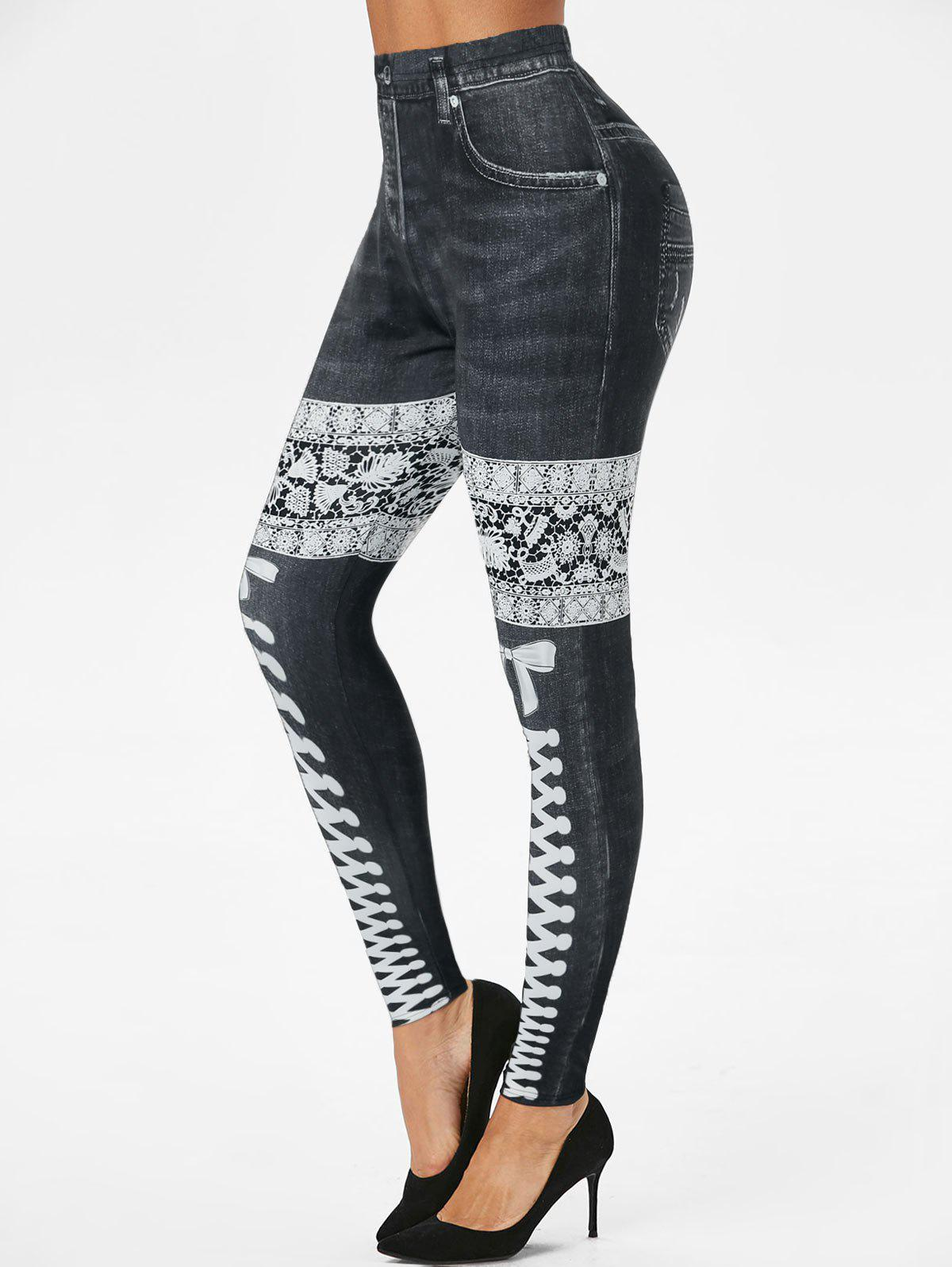 Store 3D Lace Up Denim Print Skinny Jeggings