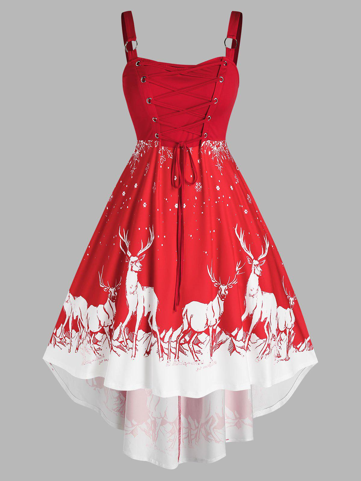 Latest Plus Size Christmas Elk Snowflake Lace Up High Low Dress