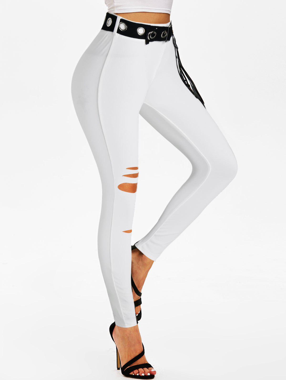 Fancy Ripped Lace-up Grommet Belted Skinny Pants