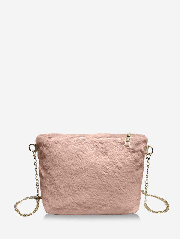 Fashion Faux Fur Chain Rectangle Crossbody Bag