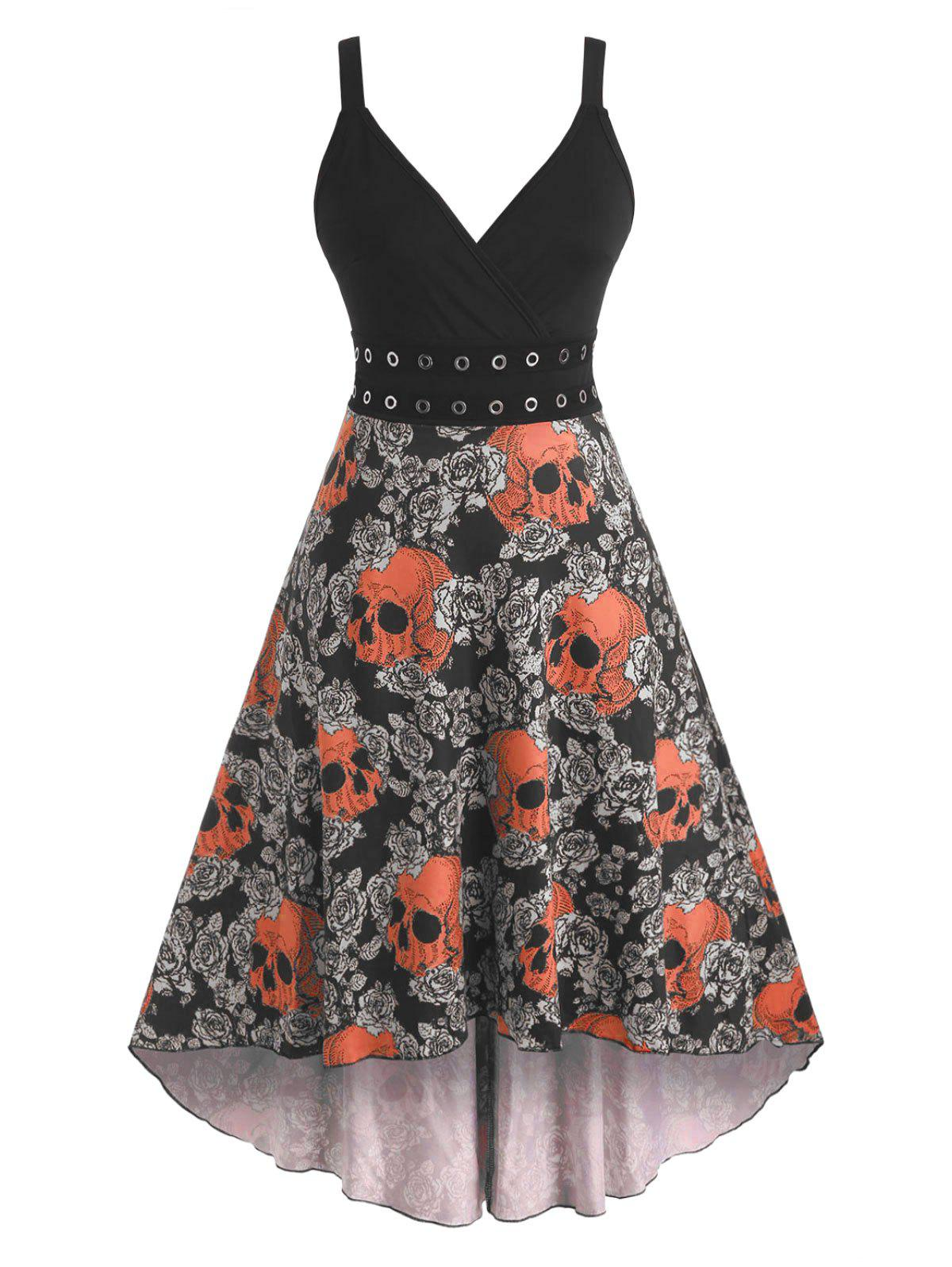 Fashion Halloween Skull Floral Print Grommets High Low Dress
