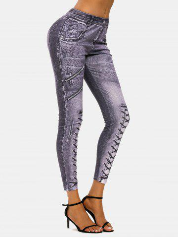 3D Zip Lace-up Print Skinny Jeggings