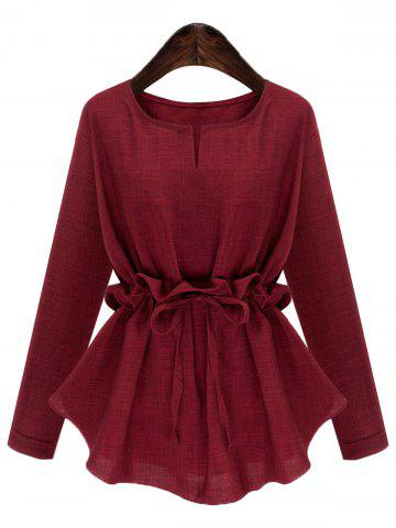 Plus Size Drawstring V Neck Top - DEEP RED - 2XL