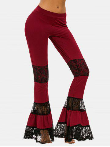 Lace Panel Bell Bottom Pants - DEEP RED - M