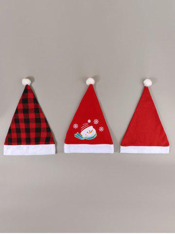 3Pcs Plaid Snowman Pattern Christmas Hat Set - RED