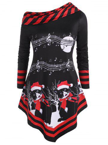 Musical Note Print Christmas Cat Stripes Panel Plus Size Top