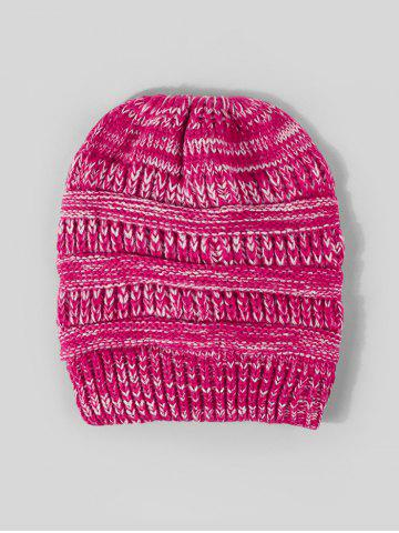 Winter Mixed Color Knitted Hat - ROSE RED