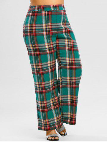 Plus Size High Waisted Plaid Wide Leg Pants - DARK FOREST GREEN - 5X